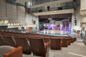 Interior stadium view of Preston Arts Center looking at the stage