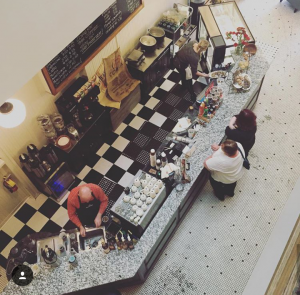 Aerial image of the beautiful countertop at Planter's Cafe, now Bliss Artisan Ice Cream