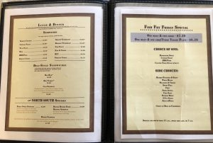 Page 2 and 3 of North South Truck Stop Menu, Includes: Fish Friday Specials, Sandwiches, and sides.