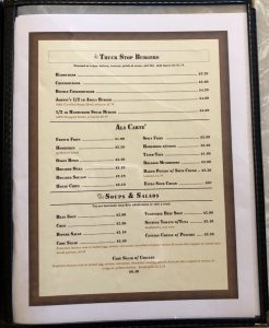 Page 4 of North South Truck Stop Cafe Menu, Includes: Truck Stop Burgers, Ala Carte, soups and salads