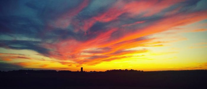A colorful October sunset in Henderson, Kentucky