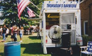 Vintage photo of Thomason's Barbecue vendor food truck.