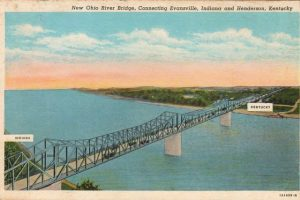 Vintage postcard view of the bridge connecting Henderson, Kentucky and Evansville, Indiana circa 1940s