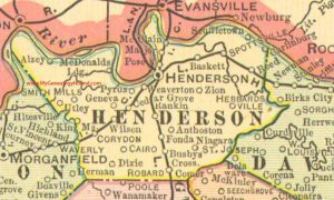 Map depicting a horseshoe shaped bend in the Ohio River.
