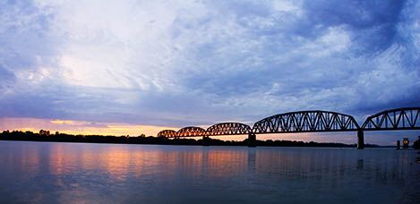 bridge over Henderson sunset on Ohio River